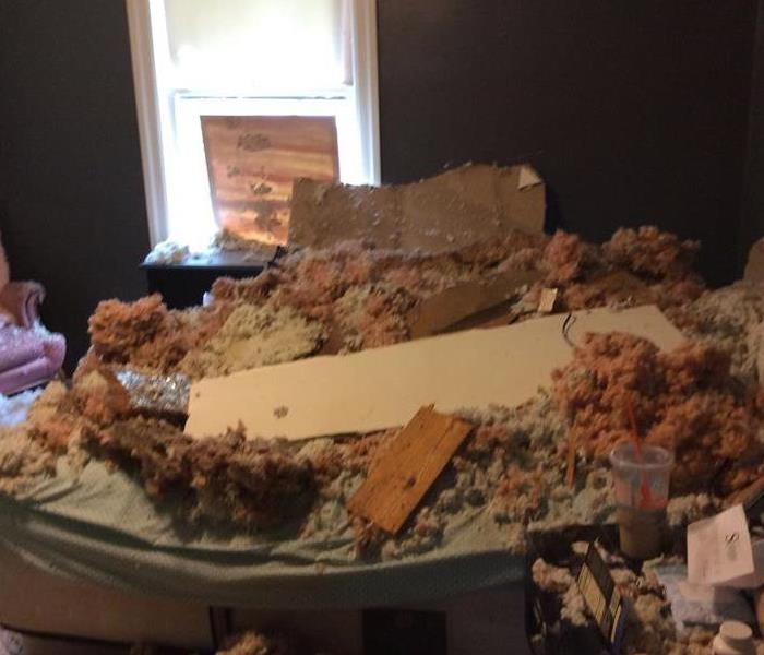 Collapsed ceiling in bedroom